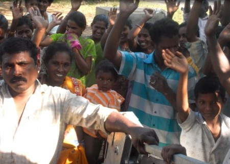 The people of Rajavaram at their new well