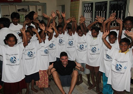 Carl Southwell with the local children wearing AITC t-shirts