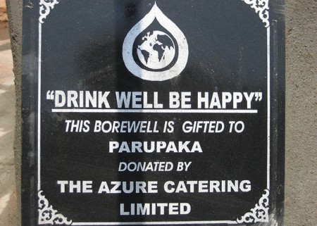 A plaque on the well commemorates the contribution made by Azure Catering
