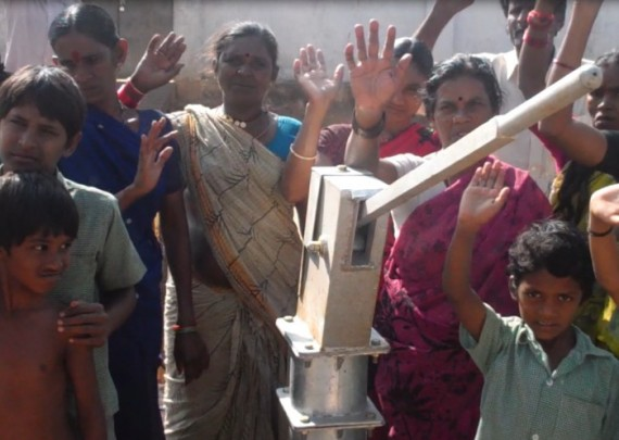 The Vundavellu community with their new well