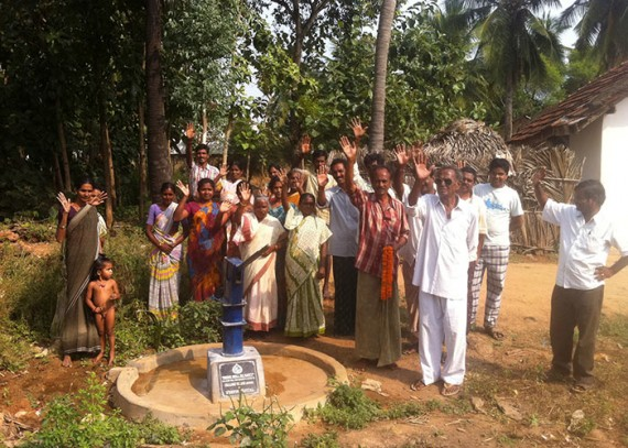 The Challeru community with their new well
