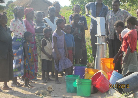 The Kabolelo community with their new well