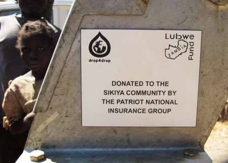 A plaque on the well commemorates the contribution made by the Patriot National Insurance Group