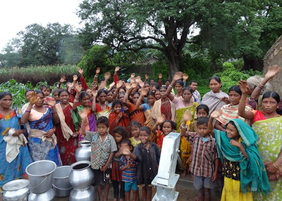 The Bawnsuguda community with their new well