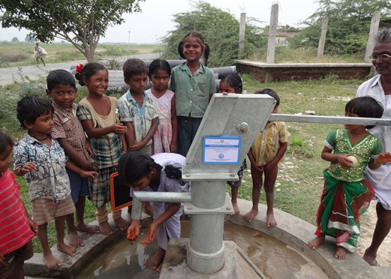 Children of the Chowdarivaripalli community are happy with their new well