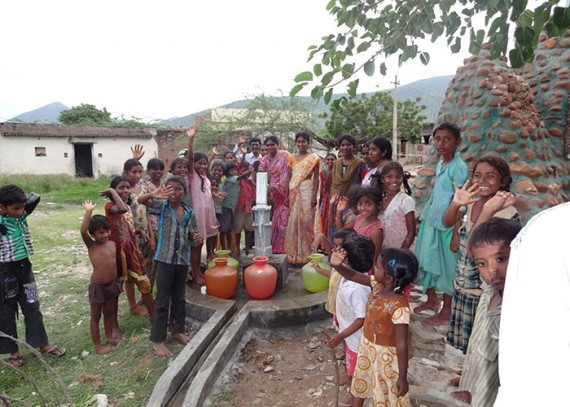 The Chowdarivaripalli community with their new well