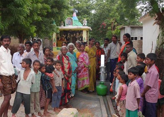 The Dirasavancha community with their new well