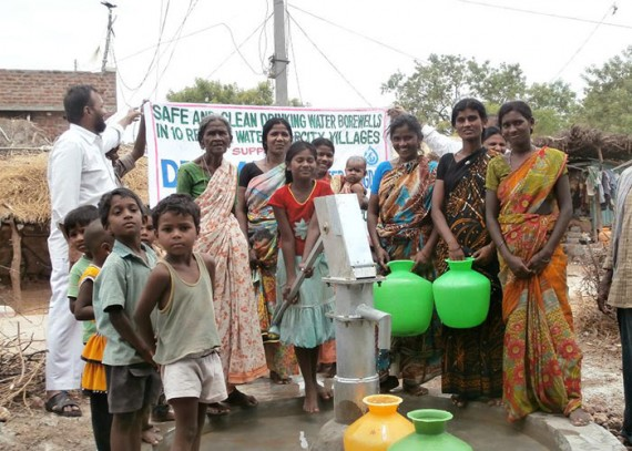 The Peddirajupalli community with their new well