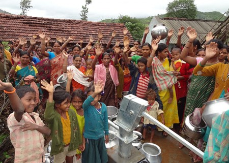 The Billaput community at the opening of their new well