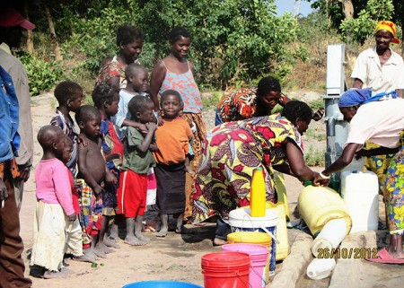 The Bwembya community with their new well