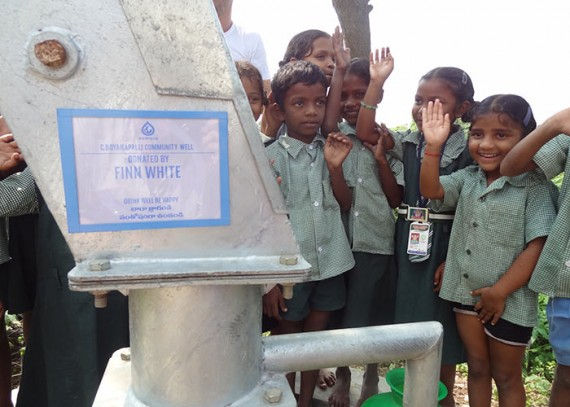 The children of C. Boyanapalliwith their new well