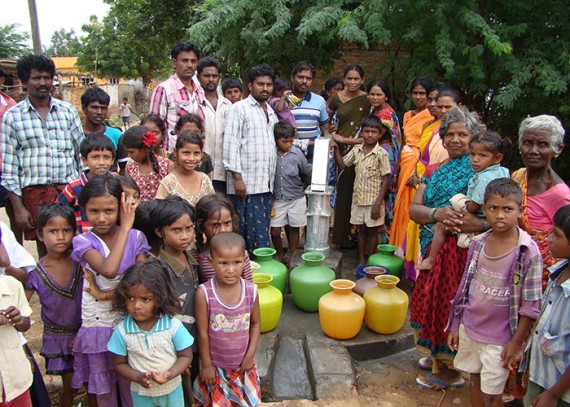 The Chennavaram community with their new well