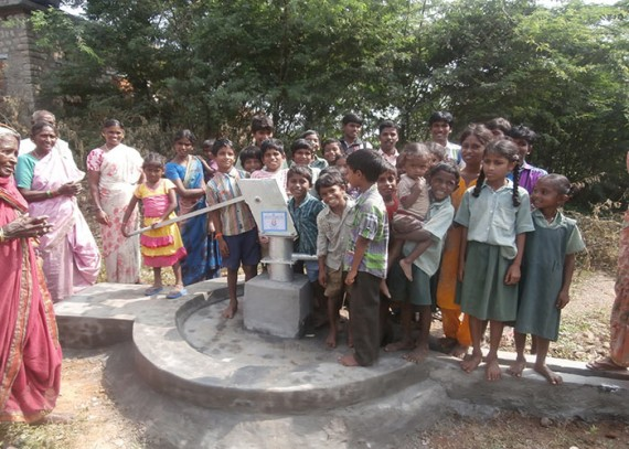 The Darga-Agraharam community celebrating their new well