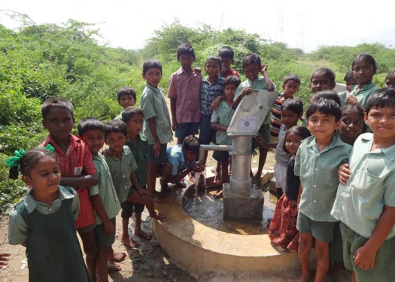 The Gopavaram community celebrating their new clean water source