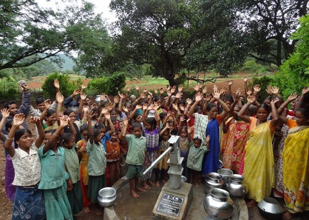 The Pittamamidi community celebrating the opening of their new water source