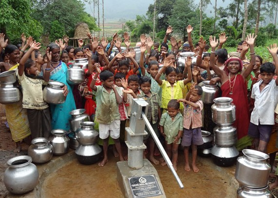 The Koranji Guda community with their new well