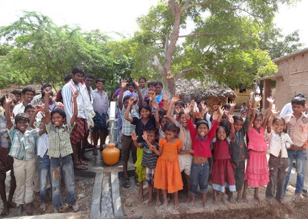 Benefactors of the Kondrajupalli community well, made possible by Epic Records