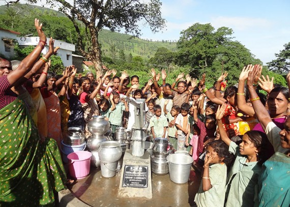 The Mundala Padu community celebrating their new well