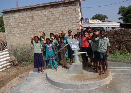 The children of Palugurallapalli with their new well
