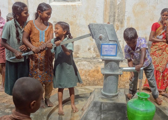 The children of Peddullapalli with their new well