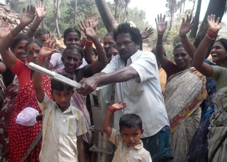 The people of Mallavaram with their new well