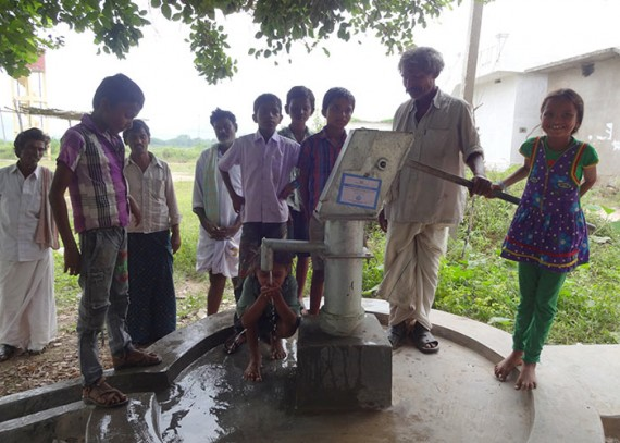 The children of Somireddypalli with their new well