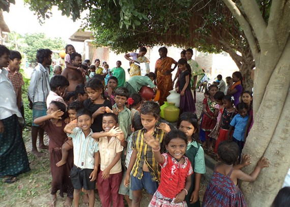 The Somireddypalli community with their new well