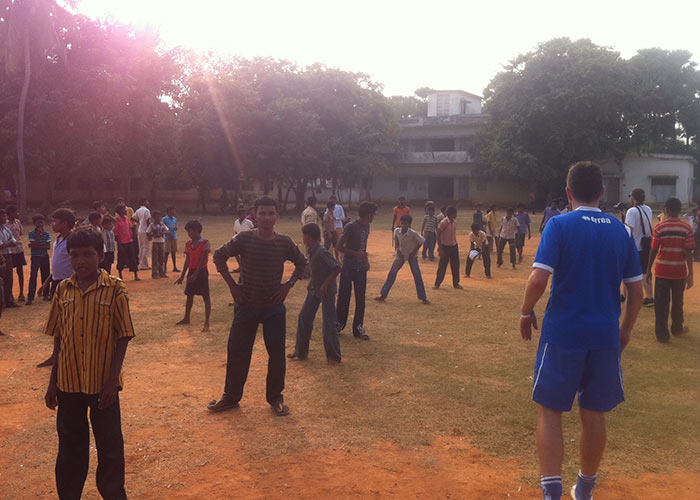 Football training at the local school