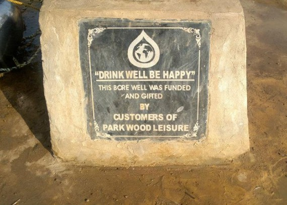 A plaque on the well commemorates the contribution made by the customers of Parkwood Leisure