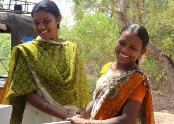 Mrs Sundaramma using her villages new well