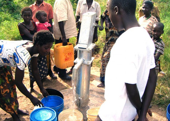 Collecting water from the new well