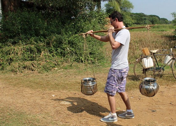 Lucas White, Life water co-founder, trying his hand at carrying water
