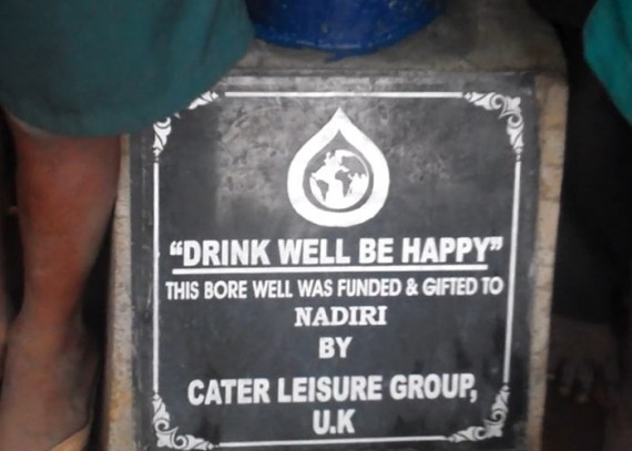 A plaque on the well commemorates the contribution made by the Caterleisure Group