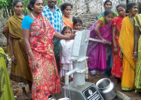 The Srungavaram community with their new well