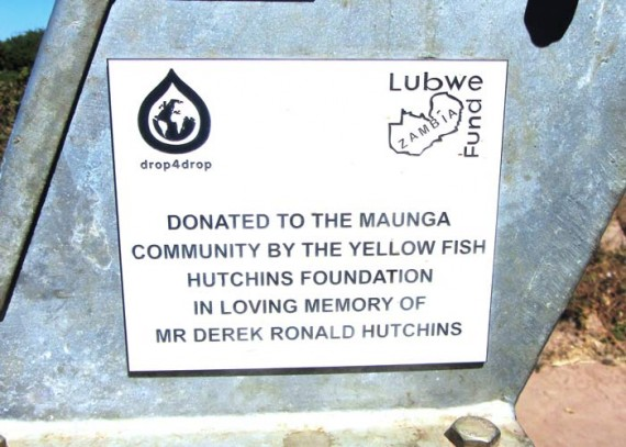 A plaque on the well remembers Derek Hutchins and the contribution made in his memory
