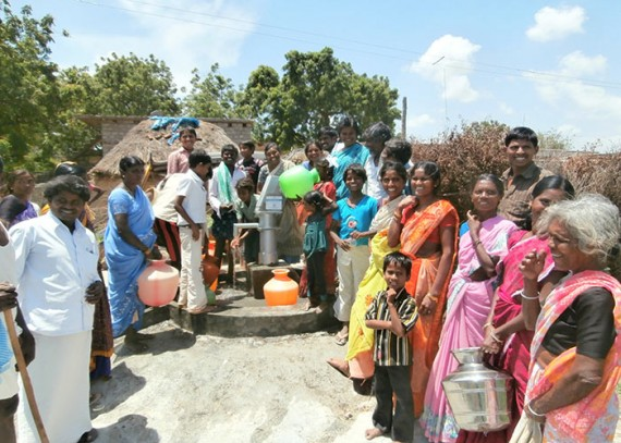The Thummalapalli community with their new well