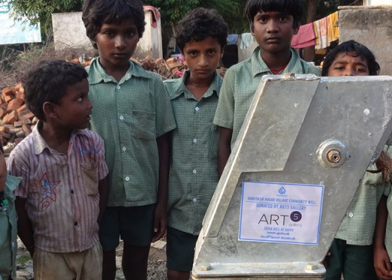 Children of the Ambedkar Nagar community with their new well