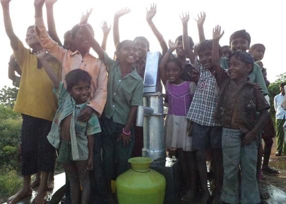 The children of Balajinagar Yanadi with their new well