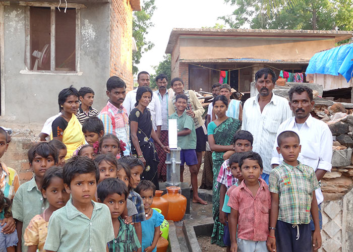 The Balayapalli community with their new well