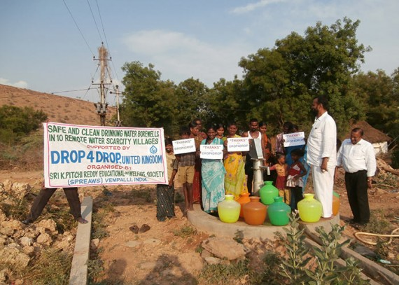The people of Chinthalapalli with their new well
