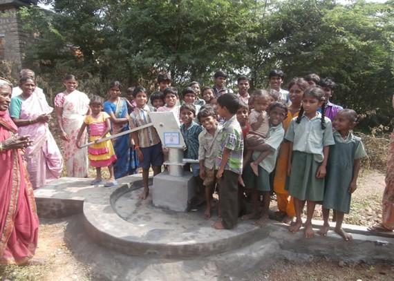 The Darga-Agraharam community celebrating their new well