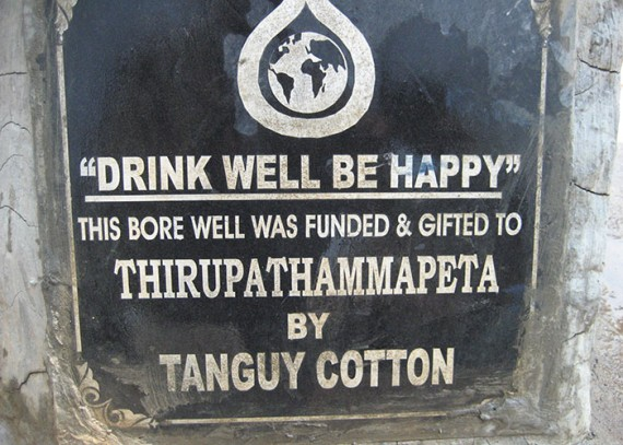 A plaque on the well commemorates the contribution made by Tanguy Cotton