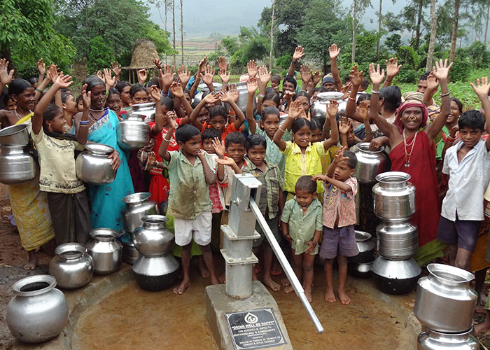 The Koranji Guda community with their new well