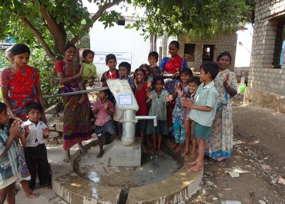 The Konduvaripalli community with their new well