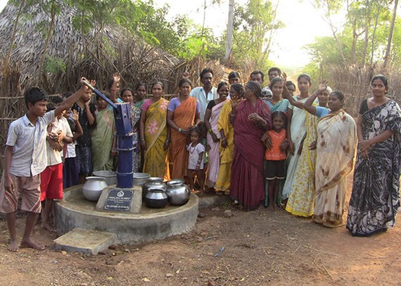 The Mahali community with their new well