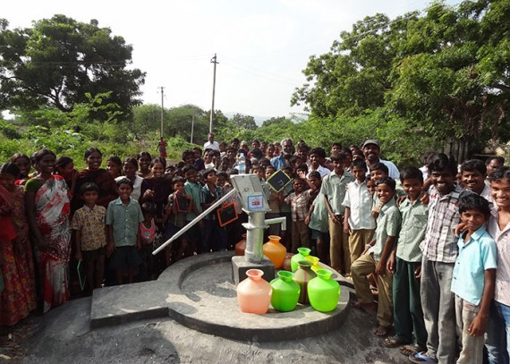 The Narasannapalli community around their new water source