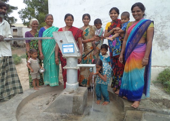 The people of Rajupeta with their new well
