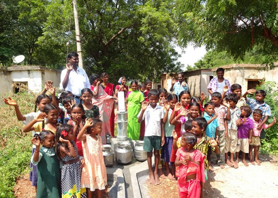 The people of Ramireddypalem with their new well