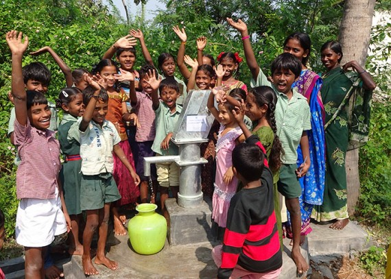 The children of Rasayipeta with their new well