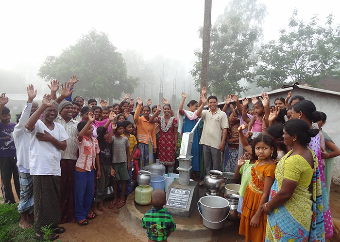 The Serabaguda community, celebrating their new water source